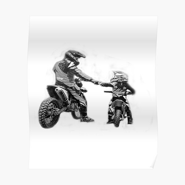 Two motocross riders shaking hands.